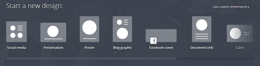 les différents formats de visuels proposés par canva