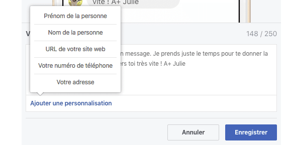 Personnaliser messagerie Facebook