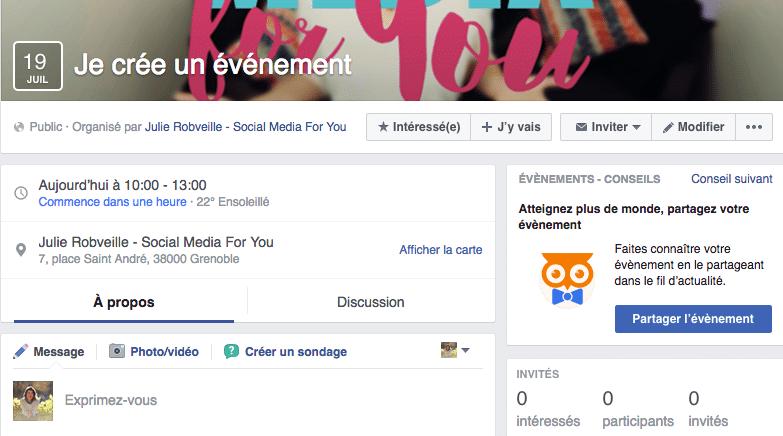 créer événement Facebook