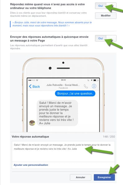 Il est possible de gérer ses messages via son mobile