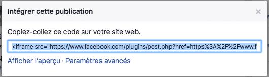 un code est directement généré pour intégrer un post Facebook à son blog