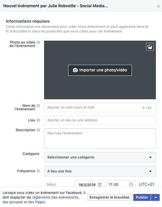 Première étape de la création d'un élément sur Facebook