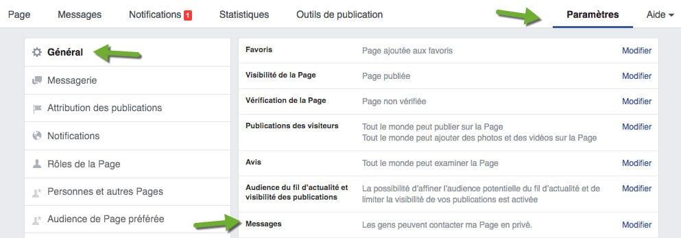 Il est important de paramétrer sa page Facebook, pour que cette dernière puisse recevoir les messages