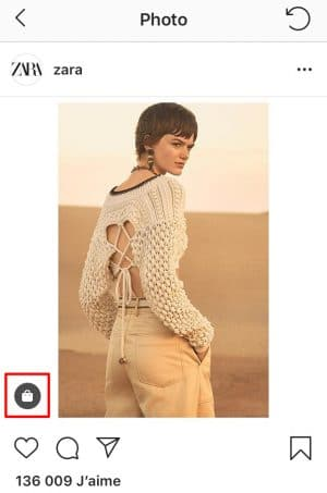 le shopping bag sur Instagram permet de voir le produit mis en avant, et accéder à Checkout
