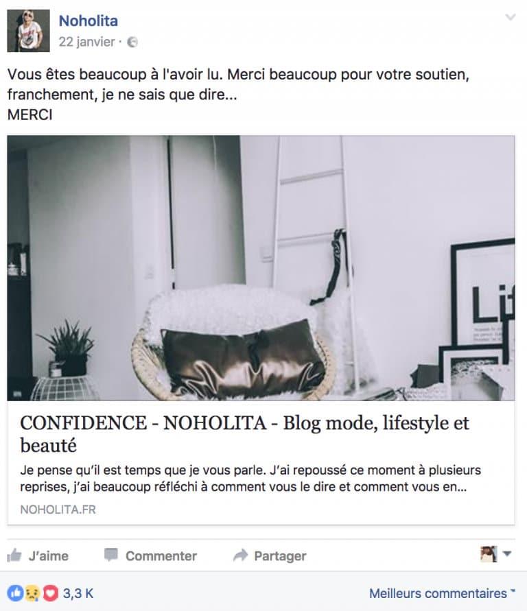 Le but de la page Facebook est de bossé le trafic du blog de Noholita