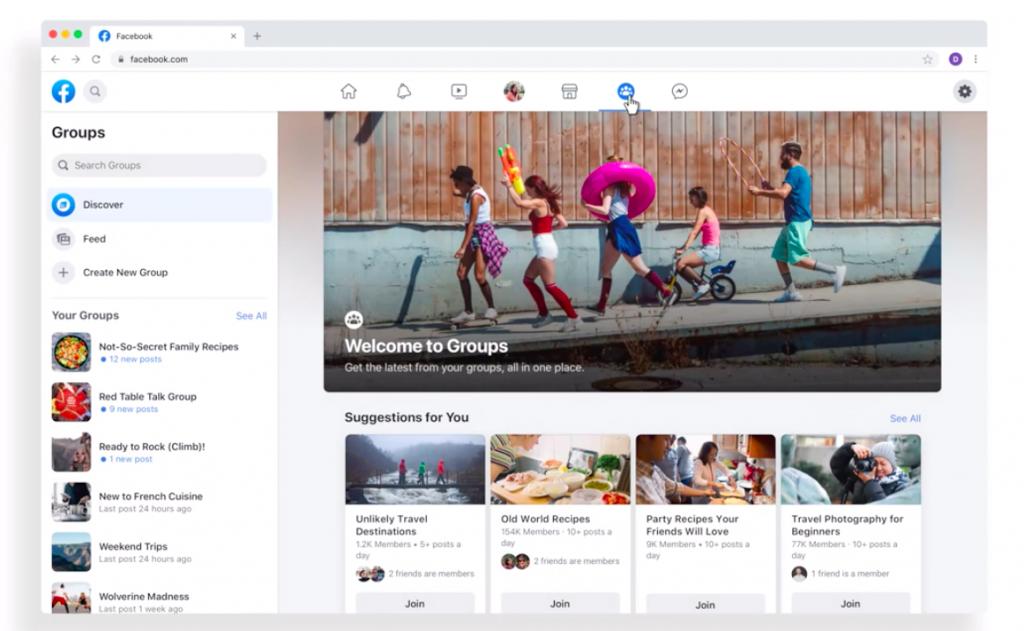 Capture d'écran de la nouvelle interface de Facebook FB5, mettant en avant les groupes Facebook