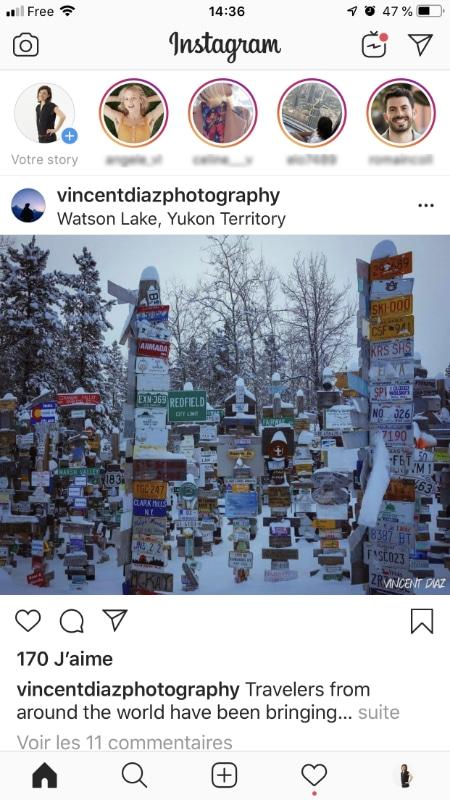 Voici une capture d'écran d'Instagram où l'on peut voir les stories en haut de l'image