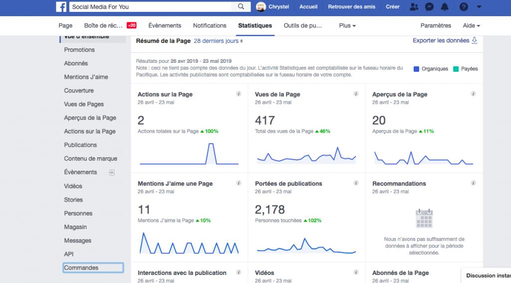 Les Statistiques Facebook pour suivre sont activité