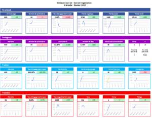 Exemple de tableau de bord centralisant les KPIs sur les réseaux sociaux