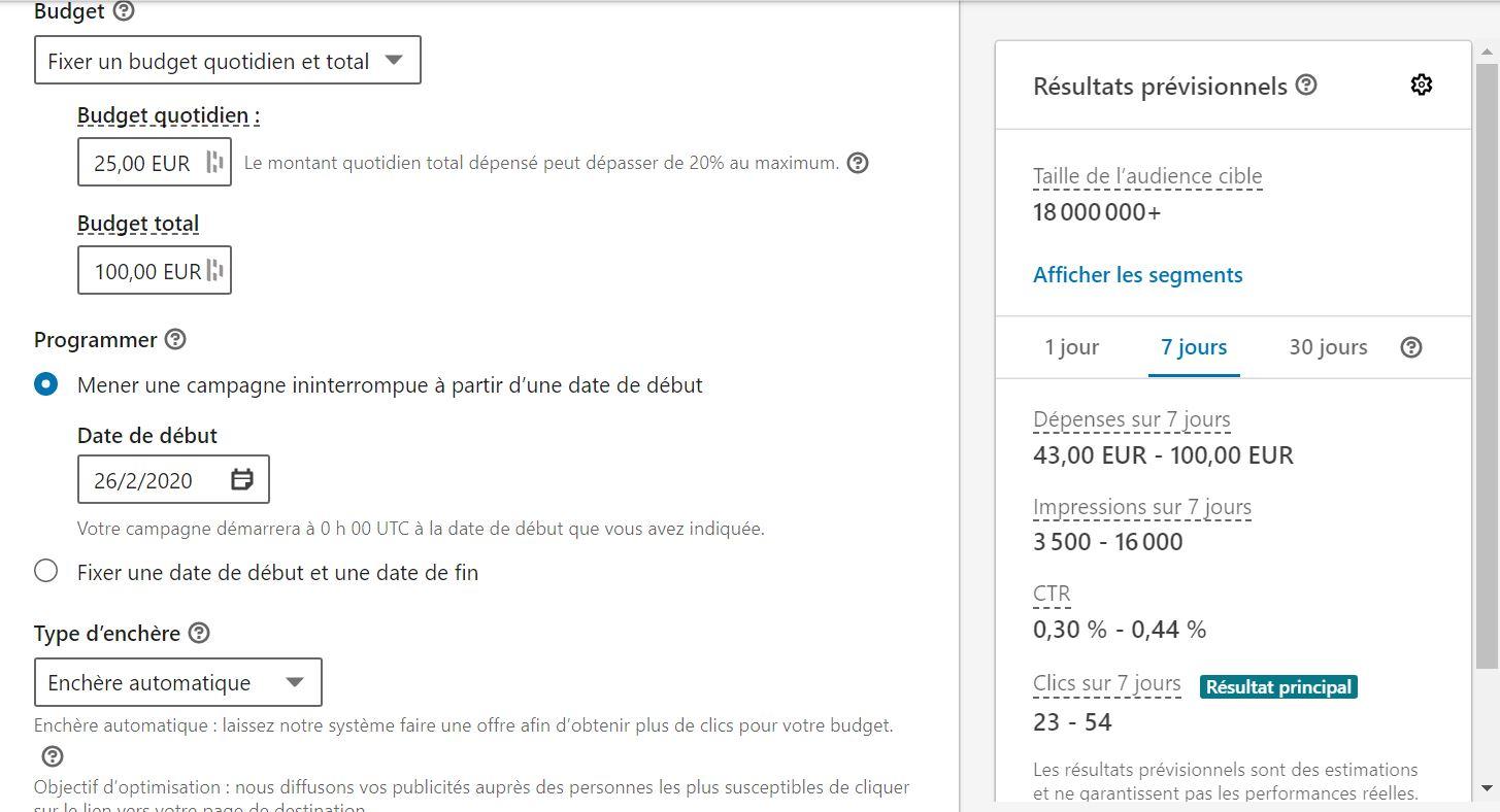 définir un budget pour votre publicité LinkedIn