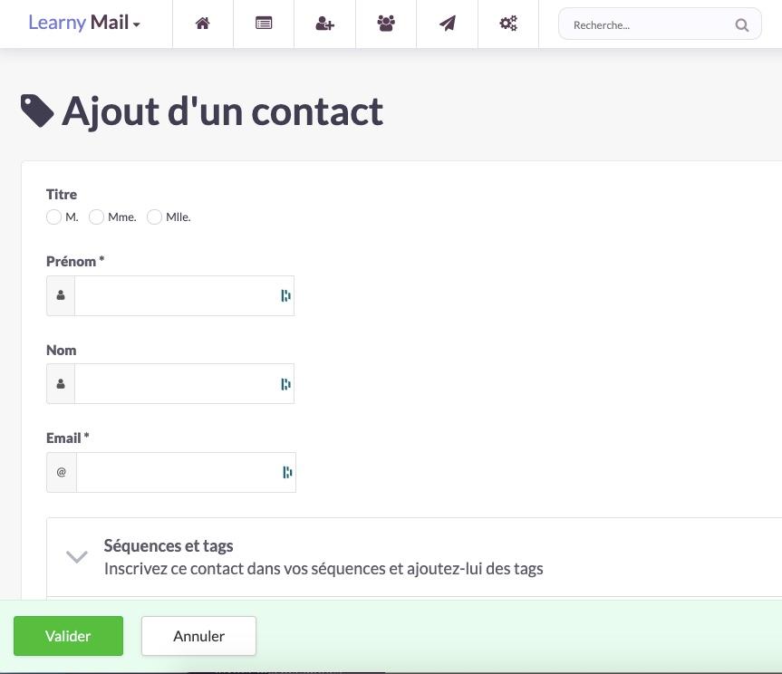 L'ajout de contact à qui envoyer vos emails