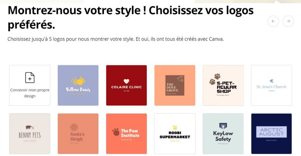 Choisissez vos logo préférés sur Canva