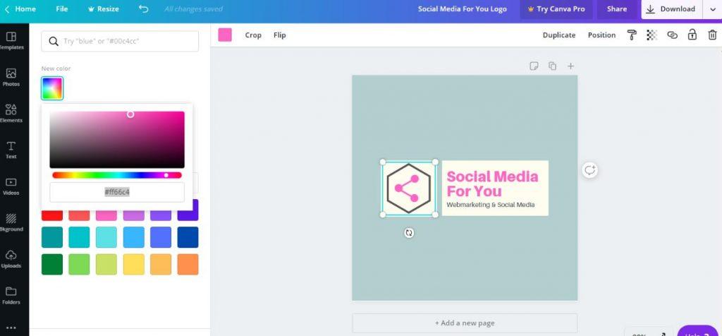 Personnalisez les couleurs de votre logo sur Canva