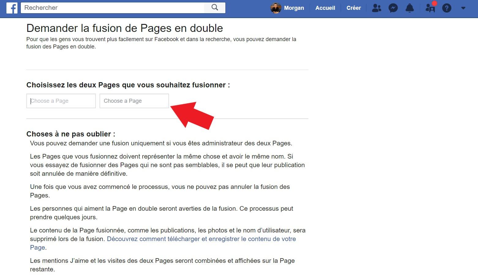 Sélectionner vos 2 pages Facebook à fusionner