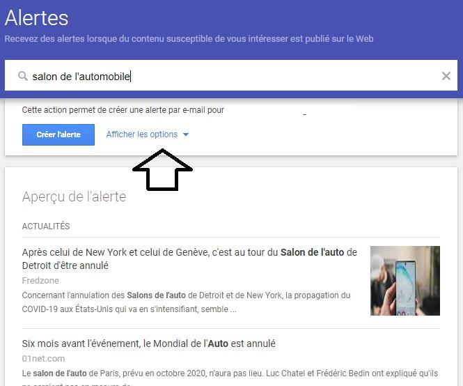 créer une alerte avec Google Alerts