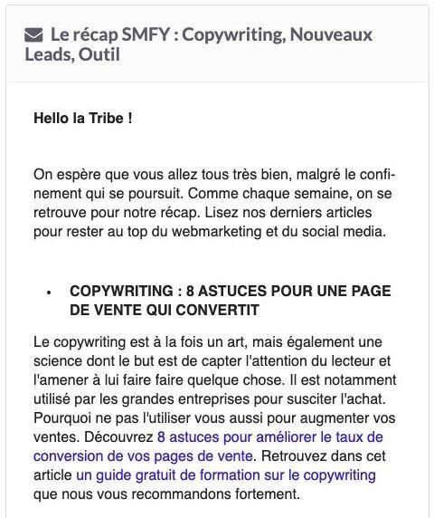 Exemple de newsletter pour teaser vos clients