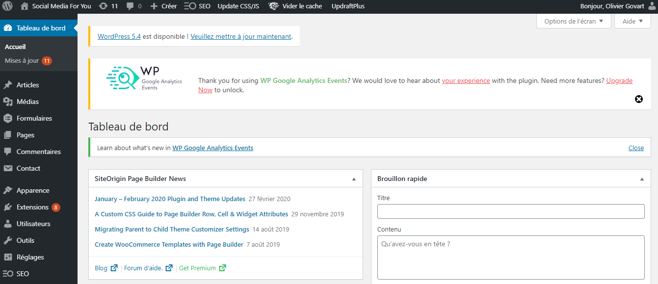 à quoi ressemble le tableau de bord de WordPress