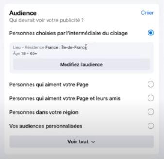 votre audience pour publication sponsorisée facebook