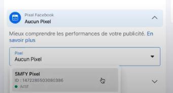 choisissez votre pixel facebook pour tracker vos publicités