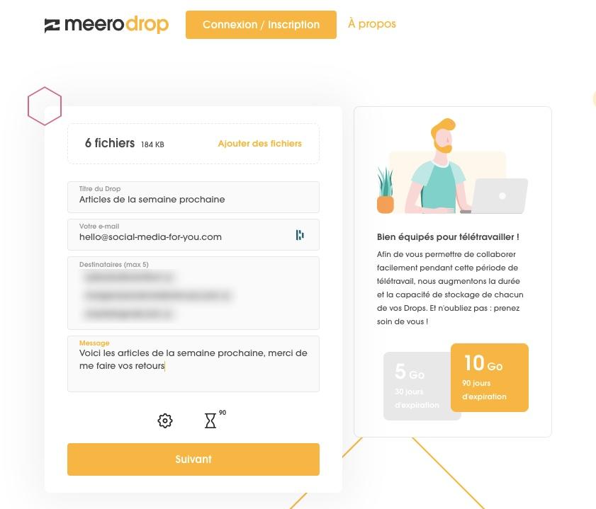 Créer un lien de partage avec meerodrop, votre premier drop