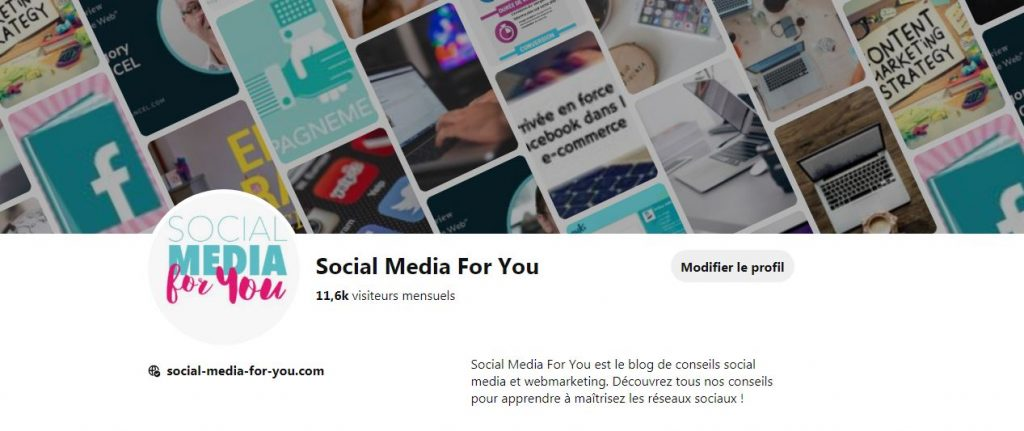 Exemple social media for you bannière tableau Pinterest