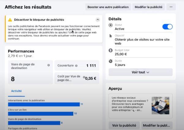 Onglet résultats statistiques publicitaires facebook