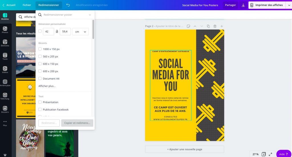 créer votre poster facilement et gratuitement sur canva